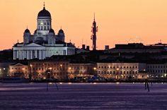 Helsinki and White Night by Tomi Tenetz Before Sunset, Amusement Park, Helsinki, Finland, Paris Skyline, Taj Mahal, Cathedral, Stock Photos, Night