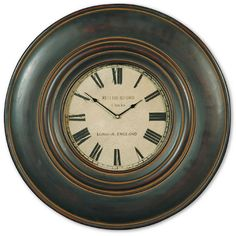 0-025382>Adonis Wall Clock Distressed Black