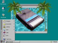 windows throwback. 90s graphics. vintage technology. unnecessary palm trees. desktop wallpaper
