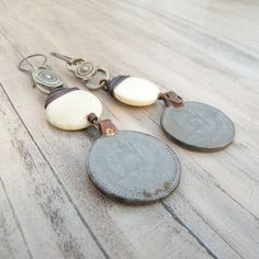 Tribal Coin Earrings with Bone and Sterling Ear by GypsyIntent, $36.00