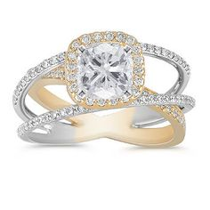 Swirl Halo Diamond Engagement Ring in Two-Tone Gold with Pave Setting.. I love the triple band. I think it might have to be a go. I'm not crazy about the gold, though.