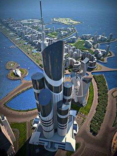 Great Architecture : Azerbaijan Tower in Dubai Unique Architecture, Futuristic Architecture, Amazing Buildings, Modern Buildings, Dubai City, Futuristic City, New City, Fantasy Landscape, Future City