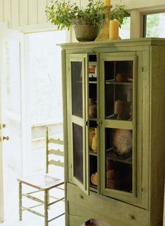Hutch decor ideas...antique green paint...