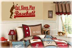Eat, Sleep, Play, Baseball vinyl wall lettering with Baseball player silhouette vinyl wall art decal - Choose two colors