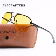e7e6cc2fdad SeaDog Jack SDJ - Eyecrafters Aluminum Magnesium Alloy Polarized Night  Driving Glasses Aviator Styling in Half Frame Design! Anti-High Beam