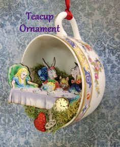 Alice Teacup Christmas Ornament by thefaerywatcher on Etsy, $25.00