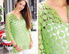 Зеленый ажурный пуловер - схема вязания крючком. Вяжем Пуловеры на Verena.ru
