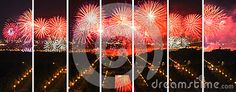 A wide firework combined picture set