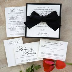 Grace Wedding Invitation Set  - Trendy,Elegant ,Simple, black, white,ribbon,backer, bow - AV8168
