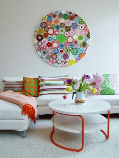Assortment of Vintage Doilies, stapled onto a hard surface for a wall hanging… Sanna & Sania