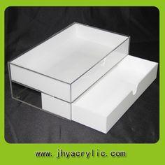 Two Drawer Storage Box Mac Cosmetic Display Acrylic Makeup Organizer White Color