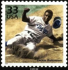 Jan. 31, 1919: Baseball Hall of Famer Jackie Robinson, who broke the sport's color barrier in 1947, was born in Cairo, Ga. Stamp Collecting, My Stamp, Stamp Pad, Going Postal, Dodgers Nation, Dodgers Baseball, Commemorative Stamps, Jackie Robinson Day, National League