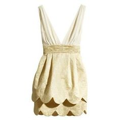 Bridal party dress Two-layer Wave Hem Pleated Embroidered Cream Dress |berlinmo