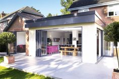 Adding a single-storey kitchen-diner extension to a detached house to create a useable family kitchen/dining/living space within an unusually shaped property House Extension Plans, House Extension Design, Extension Designs, Glass Extension, Roof Extension, Extension Ideas, Extension Costs, Cottage Extension, Orangery Extension