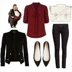 Brwon cardigan black coat white purse with denim pants
