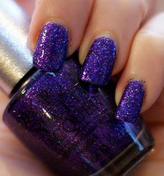 Temptation by OPI's designer series: Apply a solid color thats mainly matches' with a dark part of the glitter, when done applying solid color add the glitter. For a better manicure aadd clear coat when done.