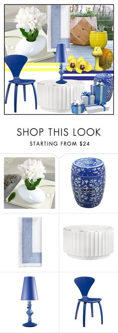 """White & Blue with a pinch of Yellow"" by din-sesantadue ❤ liked on Polyvore featuring interior, interiors, interior design, home, home decor, interior decorating, Serena & Lily and Lladró"