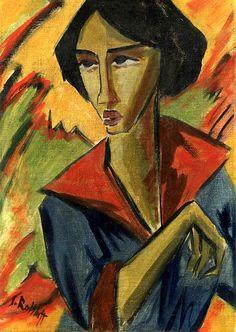 Karl Schmidt-Rottluff:  Girl with Red Collar (c.1914-1915)