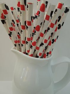 https://www.etsy.com/shop/IvanasGiftsNThings?ref=hdr_shop_menu 25 Casino Paper Straws, Game Night, Red Hearts Diamonds Spades Clubs, Alice In Wonderland, Black Jack Game Straws Playing Cards Paper Straws $2.99