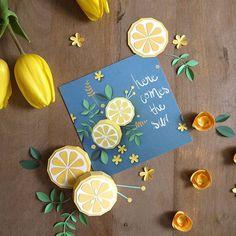 Magali Fournier illustration #papercut #papercraft #paperflowers #cartepostale #postalcard #magalifournier #bluearteditions #herecomesthesun