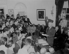 At the White House, President Truman announces Japan's surrender. Washington, DC, August 14, 1945.