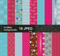 Floral paper in blue and pink digital scrapbook printing by Titeri
