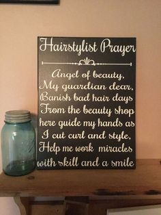 Hairstylist prayer hair salon decor hair by SunShineWallArt