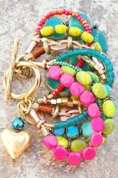 Blue, Green & Pink Heart Charm Bracelet: Blue, Green and Pink Artisan Mixed Media Heart Charm Bracelet