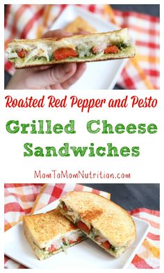 A simple grilled cheese sandwich is packed with extra flavor from pesto and roasted red pepper inside, giving it a gourmet spin! to Mom Nutrition- Katie Serbinski, MS, RD Healthy Sandwiches, Wrap Sandwiches, Sandwich Recipes, Lunch Recipes, Panini Sandwiches, Healthy Recipes, Healthy Lunches, Eating Healthy, Dinner Recipes