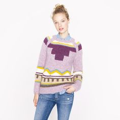 Collection handknit intarsia sweater/