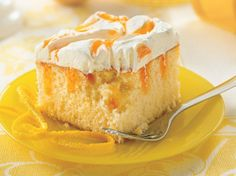 Refreshing citrus flavor infuses tender white cake. A fluffy frosting adds finesse.