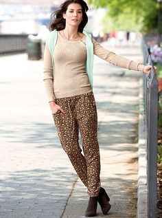 VS Cuffed Relaxed Pant - love the fabric pattern & the trim