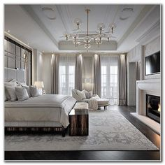 Crown-Molding-Lighting-with-Chandelier-for-White-Bedroom-Ideas