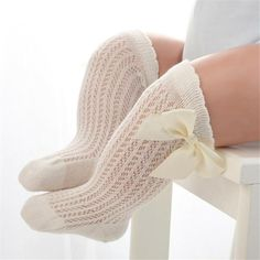 Girls Knee High 3//4 Spanish Ribbon Bow Socks NB-5 Years Baby Girls