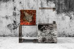 Disappearing Memory hand-painted stainless-steel tables by Deco Artpiece.