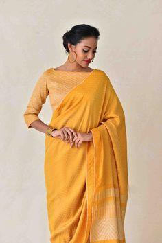 Laid-Back Luxury Collection . Kanchipuram Saree, Handloom Saree, Lehenga, Sarees, Latest Maggam Work Blouses, Formal Saree, Yellow Saree, Saree Look, South Indian Bride