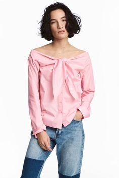 Blouse épaules nues - Rose clair - FEMME | H&M FR 1