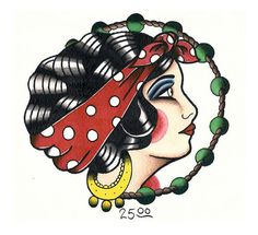 Traditional Tattoo Flash Gypsy Girl Repaint Print - Tattoo Painting Art Print on Etsy, $27.97