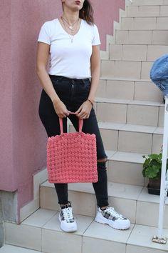 Vintage Pink Shoulder Tote Croched Bag For Summer Hippies Boho Hipster Gypsy Swimming Festivals Plastic Bag Denim Jackets, Vintage Pink, Hippie Boho, Knit Crochet, Crochet Patterns, My Etsy Shop, Street Style, Shoulder, Festivals
