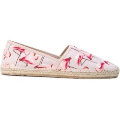 Red Valentino flamingo print espadrilles (14,750 INR) ❤ liked on Polyvore featuring shoes, sandals, leather espadrille sandals, real leather shoes, leather espadrilles, espadrille sandals and red valentino shoes