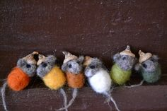 Needle Felted Baby Acorn Mouse Felted Wool Fall by FibersofBeing, $6.80