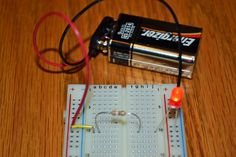 Easy LED circuit.  Make a simple circuit that makes a LED light up.