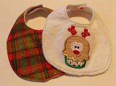 Christmas baby Bibs by DarlenesNeedlesnPins on Etsy