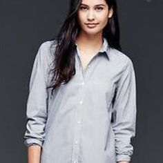 GAP Striped Button Down  Perfect condition, only worn once. Light and moveable, great for all seasons. GAP Tops Button Down Shirts