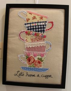 Have a cuppa framed applique