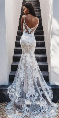 36 Lace Wedding Dresses That You Will Absolutely Love ❤ lace wedding dresses trumpet with spaghetti straps low back with train allurebridals Gorgeous Embroidered Off Shoulder Mermaid Wedding Dress Wedding Dress Gallery, Wedding Dress Trends, Dream Wedding Dresses, Bridal Dresses, Wedding Ideas, Wedding Decorations, Modest Wedding, Fitted Wedding Dresses, Wedding Planning