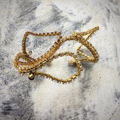 Bridal wedding bangle! Rhinestone chain and wire wrapping! #handmade #weddingjewelry