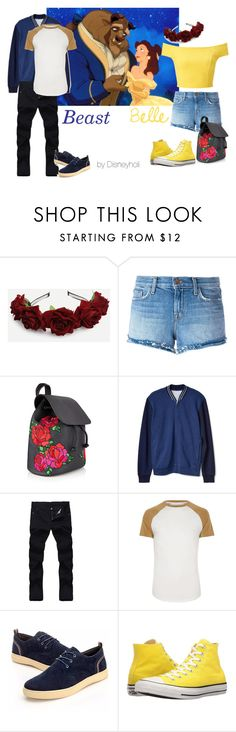 """""""Beauty and the Beast Couplebound"""" by disneyholi ❤ liked on Polyvore featuring J Brand, Gap, River Island, Converse, Miss Selfridge, disneybound and BeautyandtheBeast"""