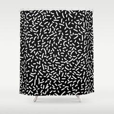 Memphis Candy W&B Shower Curtain by bitart Black Silver, Black And White, Scandinavian Bathroom, Bathroom Shower Curtains, Hooks, Crisp, Colorful, Usa, Space