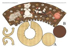 Kitty Cat Novalty Teacup Goodie Gift Treat Box Bag on Craftsuprint - Add To Basket! Paper Tea Cups, Tea Cup Art, Mushroom Crafts, Printable Crafts, Printables, Paper Art, Paper Crafts, Craft Free, Toy Craft